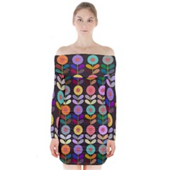 Zappwaits Flowers Long Sleeve Off Shoulder Dress