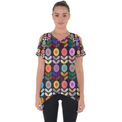 Zappwaits Flowers Cut Out Side Drop Tee