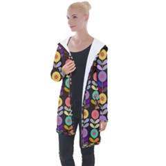 Zappwaits Flowers Longline Hooded Cardigan