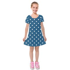 Turquoise Polka Dot Kids  Short Sleeve Velvet Dress by retrotoomoderndesigns