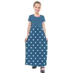 Turquoise Polka Dot Kids  Short Sleeve Maxi Dress