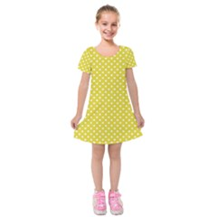 Yellow Polka Dot Kids  Short Sleeve Velvet Dress by retrotoomoderndesigns