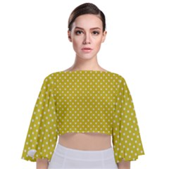 Yellow Polka Dot Tie Back Butterfly Sleeve Chiffon Top by retrotoomoderndesigns