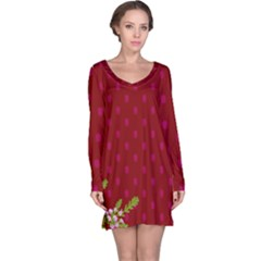 Vivid Burgundy & Heather Long Sleeve Nightdress