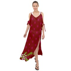 Vivid Burgundy & Heather Maxi Chiffon Cover Up Dress by WensdaiAmbrose