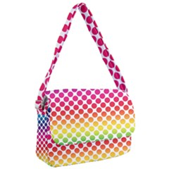 Rainbow Polka Dots Courier Bag by retrotoomoderndesigns