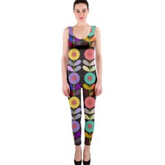 Zappwaits Flowers One Piece Catsuit
