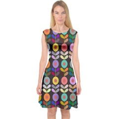 Zappwaits Flowers Capsleeve Midi Dress