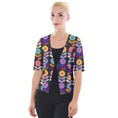 Zappwaits Flowers Cropped Button Cardigan