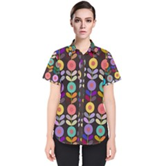 Zappwaits Flowers Women s Short Sleeve Shirt