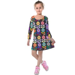 Zappwaits Flowers Kids  Long Sleeve Velvet Dress