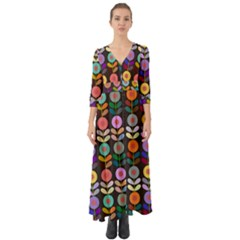 Zappwaits Flowers Button Up Boho Maxi Dress