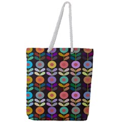 Zappwaits Flowers Full Print Rope Handle Tote (large)