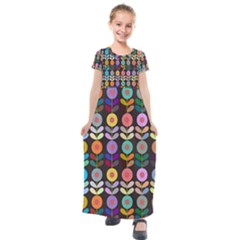Zappwaits Flowers Kids  Short Sleeve Maxi Dress