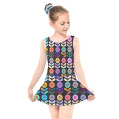 Zappwaits Flowers Kids  Skater Dress Swimsuit