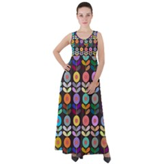 Zappwaits Flowers Empire Waist Velour Maxi Dress