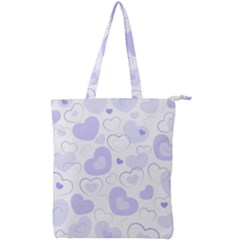 Pastel Purple Hearts Double Zip Up Tote Bag