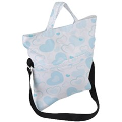 Pastel Blue Hearts Fold Over Handle Tote Bag by retrotoomoderndesigns