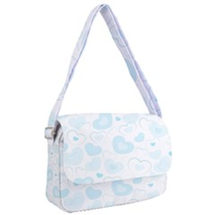 Pastel Blue Hearts Courier Bag by retrotoomoderndesigns