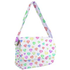Pastel Rainbow Hearts Courier Bag by retrotoomoderndesigns