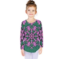 The Most Uniqe Flower Star In Ornate Glitter Kids  Long Sleeve Tee by pepitasart