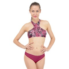 Crimson Swirl High Neck Bikini Set