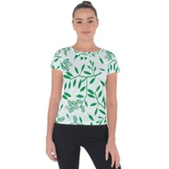 Leaves Foliage Green Wallpaper Short Sleeve Sports Top