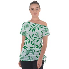 Leaves Foliage Green Wallpaper Tie Up Tee