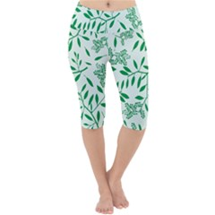 Leaves Foliage Green Wallpaper Lightweight Velour Cropped Yoga Leggings by Mariart