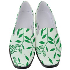 Leaves Foliage Green Wallpaper Women s Classic Loafer Heels