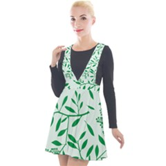Leaves Foliage Green Wallpaper Plunge Pinafore Velour Dress