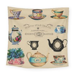 Teacups & Teapots Square Tapestry (large) by WensdaiAddamns