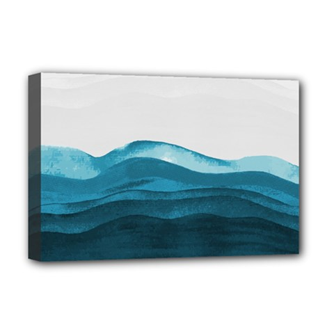 Ocean Waves Painting Deluxe Canvas 18  X 12  (stretched)