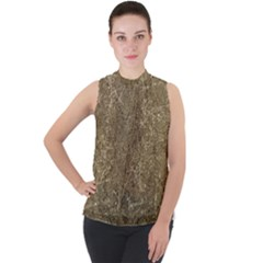 Grunge Abstract Textured Print Mock Neck Chiffon Sleeveless Top by dflcprintsclothing