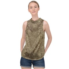 Grunge Abstract Textured Print High Neck Satin Top by dflcprintsclothing