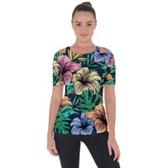 Hibiscus Dream Shoulder Cut Out Short Sleeve Top