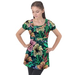 Hibiscus Dream Puff Sleeve Tunic Top