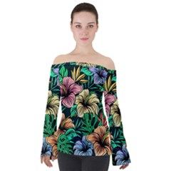 Hibiscus Dream Off Shoulder Long Sleeve Top