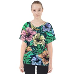 Hibiscus Dream V Neck Dolman Drape Top
