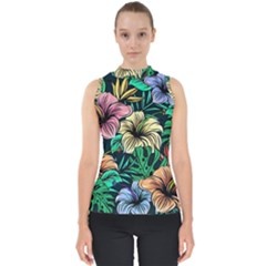 Hibiscus Dream Mock Neck Shell Top