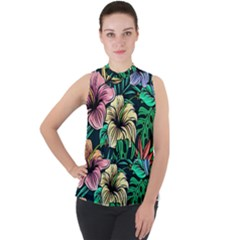 Hibiscus Dream Mock Neck Chiffon Sleeveless Top