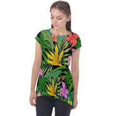 Tropical Adventure Cap Sleeve High Low Top