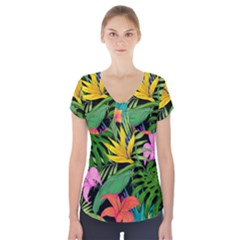 Tropical Adventure Short Sleeve Front Detail Top