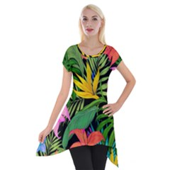 Tropical Adventure Short Sleeve Side Drop Tunic