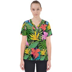 Tropical Adventure Women s V Neck Scrub Top