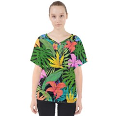 Tropical Adventure V Neck Dolman Drape Top