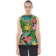 Tropical Adventure Mock Neck Shell Top