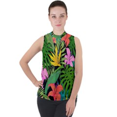 Tropical Adventure Mock Neck Chiffon Sleeveless Top