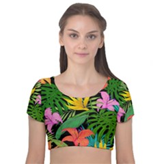Tropical Adventure Velvet Short Sleeve Crop Top