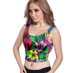 Neon Hibiscus Crop Top